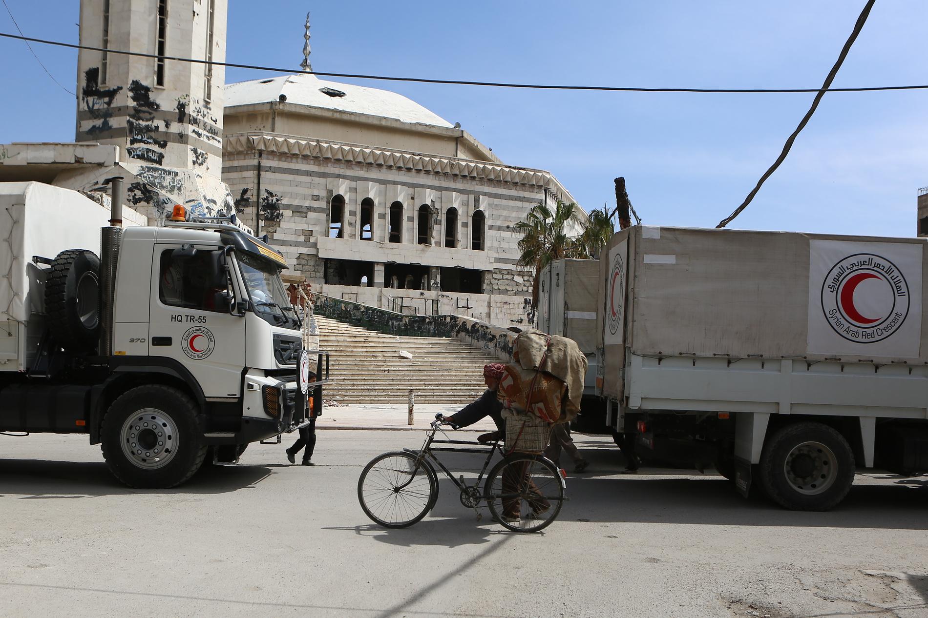 Un convoi humanitaire du Mouvement du Croissant-Rouge en Syrie.
