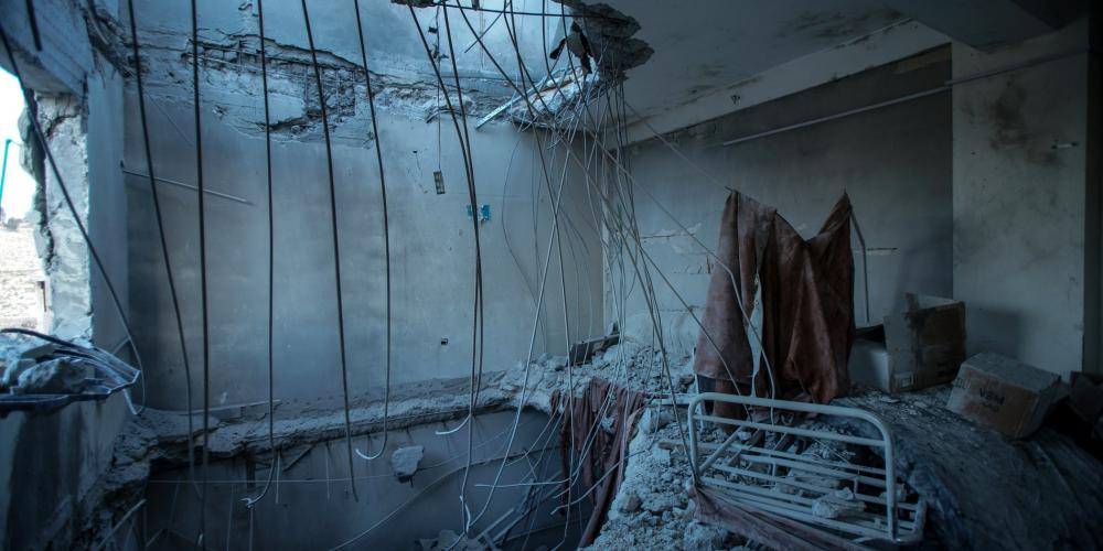 A destroyed hospital room in Syria after a attack.
