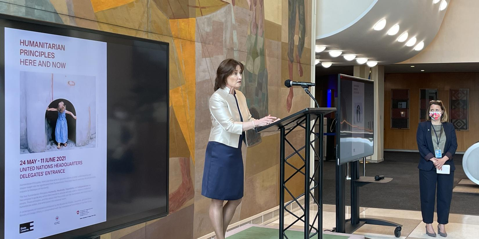 Ambassador Pascale Baeriswyl opens the inauguration ceremony of the exhibition.