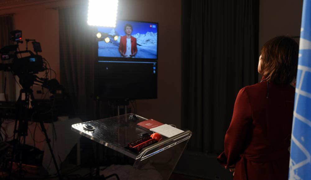 La présidente Simonetta Sommaruga explique la candidature suisse au Conseil de sécurité.