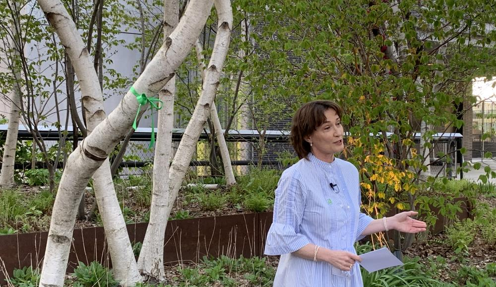 """Ambassador Pascale Baeriswyl delivers her speech and adopts the tree on behalf of the """"633 Third Ave Green Mission Alliance."""