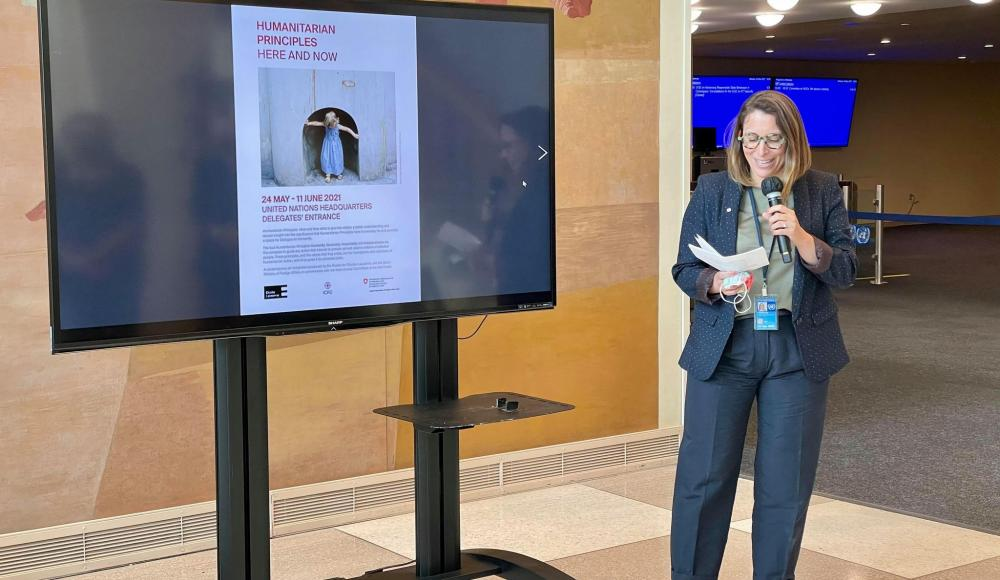 Laetitia Courtois, Permanent Observer of the ICRC to the UN, introduces the exhibition…